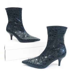 Gianni Bini Black Embossed Kitten Heel Booties